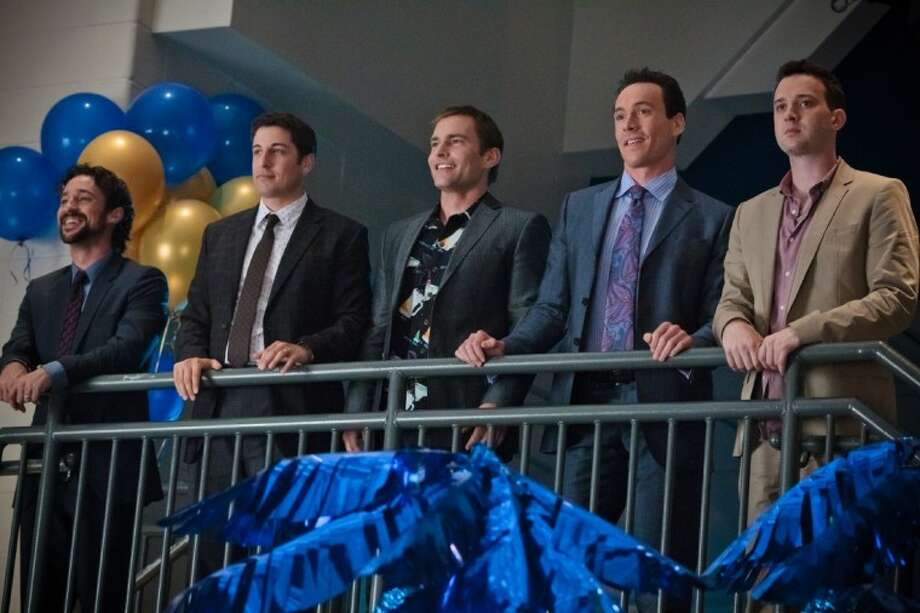 """In this image released by Universal Pictures, from left, Thomas Ian Nicholas, Jason Biggs, Seann William Scott, Chris Klein and Eddie Kaye Thomas are shown in a scene from """"American Reunion."""" Photo: Hopper Stone"""