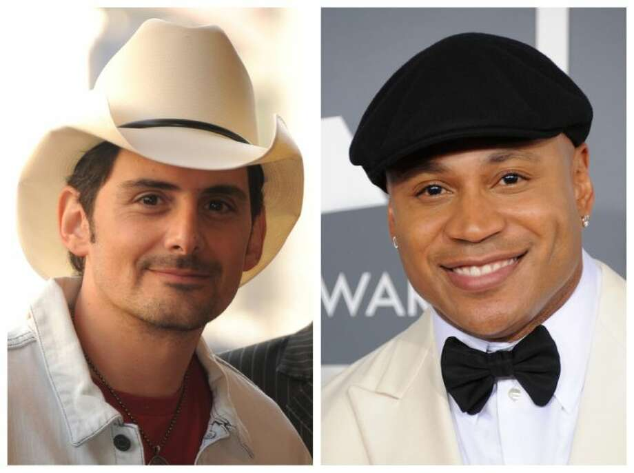 """This combination of file photos shows Brad Paisley, left, and LL Cool J. Southern white men don't usually drive racial dialogue. For as long as race has riven America, they have been depicted more often as the problem than the solution. So the country music star must have been unsurprised at the days of widespread criticism of his new song """"Accidental Racist,"""" which details the challenges facing a """"white man from the southland"""" and then features LL Cool J rapping a black perspective. Photo: Jordan Strauss"""