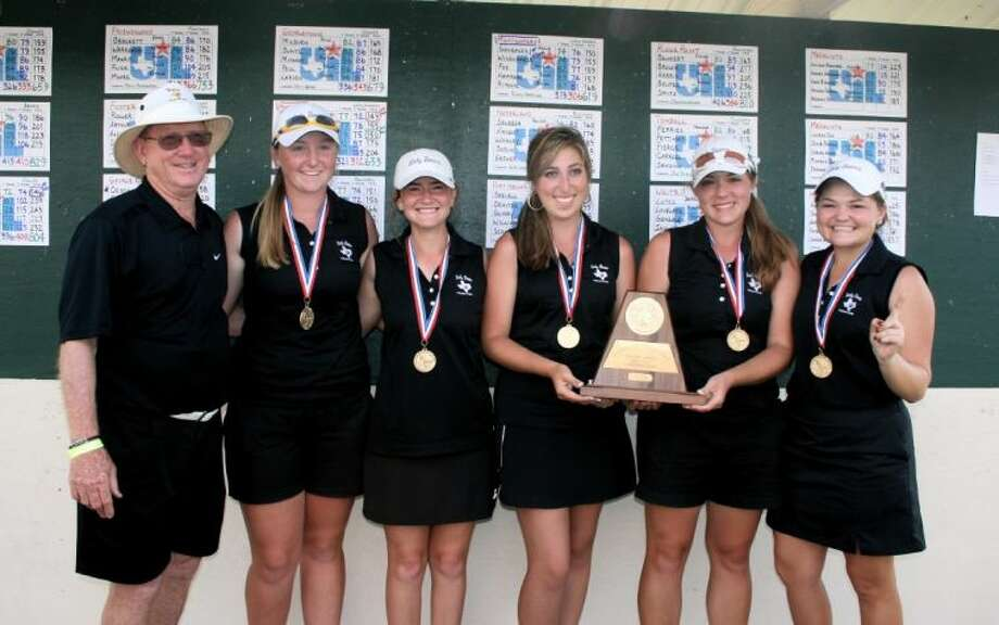 Montgomery's girls won the Region III-4A tournament on Tuesday in Huntsville. From left, coach Rusty Herridge, Kendall Wisenbaker, Ellen Hammond, Jessica Ritchie, Kaitlin Fox and Kallie Gonzales.