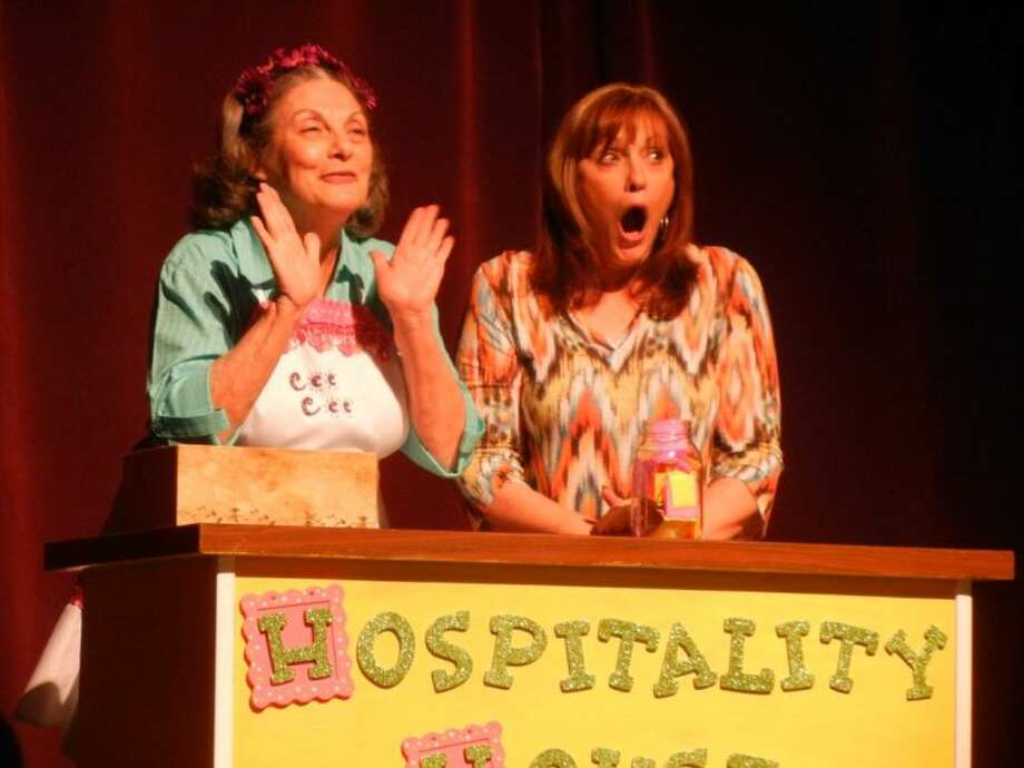"""Terry Lynn Hale, left, as Cee Cee Windam and Amy Sowers, right, as Gaynelle in Stage Right's """"The Red Velvet Cake War"""" that opens tonight at the Crighton Theatre. Call 936-441-7469 for tickets."""