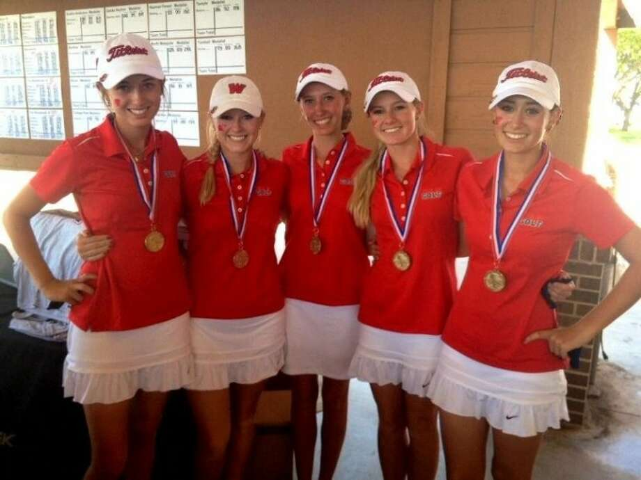 Pictured, from left to right, are The Woodlands' Region II-5A champions Kelly McGovern, Abbie Driggers, Nicole Budnik, Brooke McDougald and Cheyenne Knight.