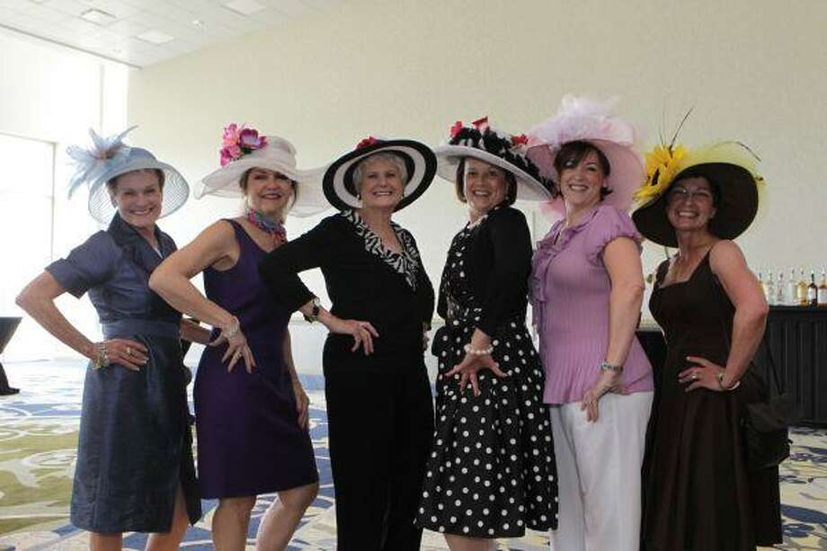 Pictured from right to left showing off their Derby Day hats were Alice Eckstrum, Kathlyn Crabtrey, Leesa Dodd, chair of the event; Annette Spikes, Jeanne Wall and Shirley Pruitt. Saturday night's Derby Day event benefited the Conroe Symphony Orchestra.