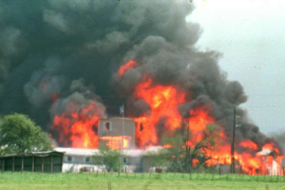 Fire engulfs the Branch Davidian compound near Waco in this April 19, 1993 file photo. Photo: RON HEFLIN