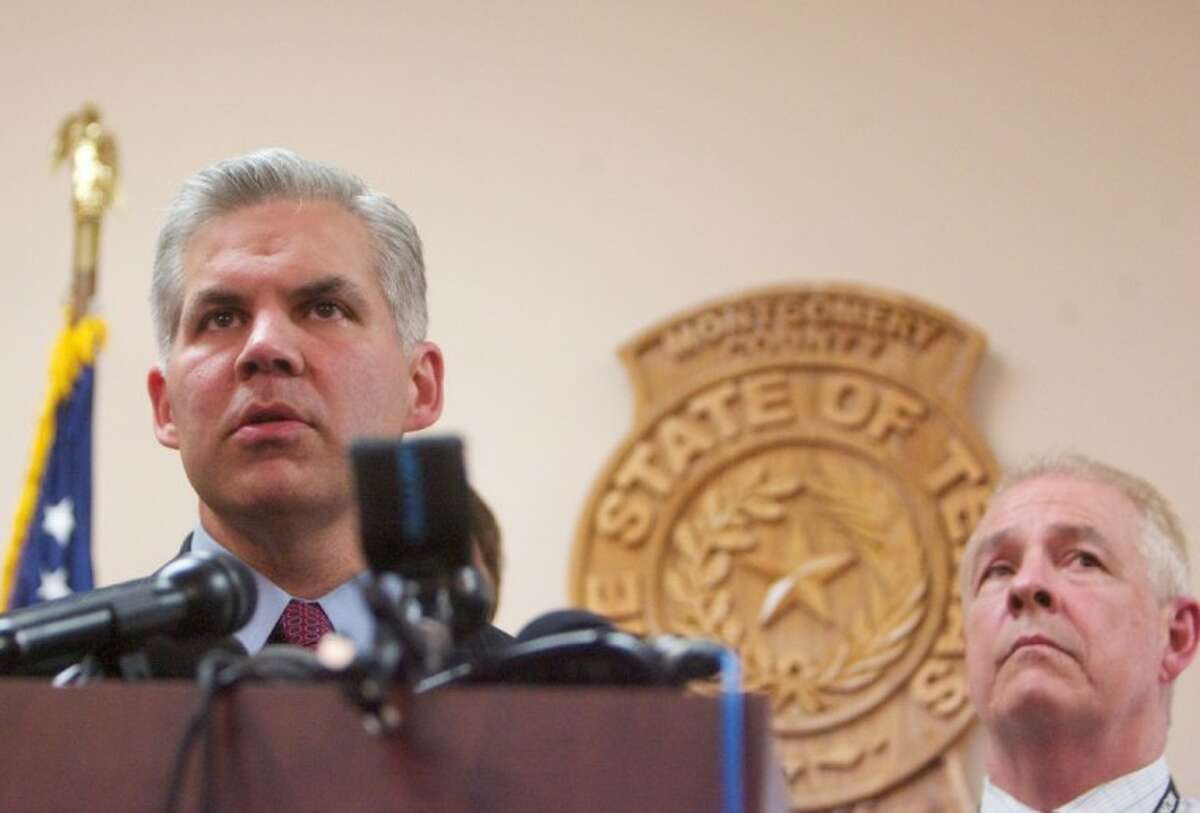 Montgomery County District Attorney Brett Ligon addresses the media during a press conference Wednesday in Conroe.