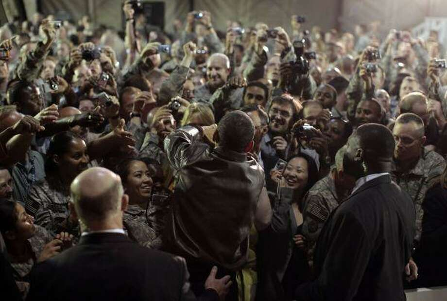 President Barack Obama rallies troops and military personnel at Bagram Air Base in Afghanistan Sunday. / AP2010