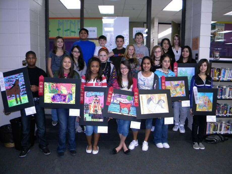 Pictured are Lynn Lucas Middle School students who participated in the rodeo art contest.