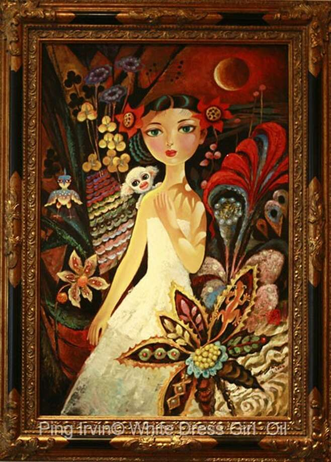 """""""White Dress Girl,"""" by Ping Irvin: The painting is currently on display at the Gallery at the Madeley Building in downtown Conroe."""