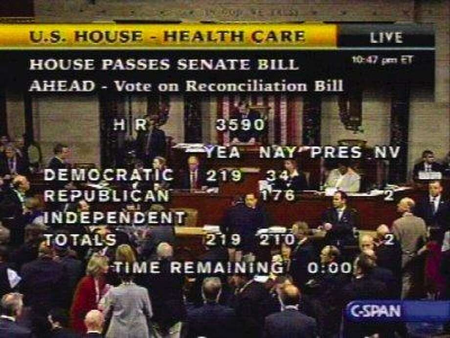 In this image made from video, the vote tally for House Resolution 3590, the Senate health care bill, is shown on Sunday. Summoned to success by President Barack Obama, the Democratic-controlled Congress approved historic legislation Sunday night extending health care to tens of millions of uninsured Americans and cracking down on insurance company abuses, a climactic chapter in the century-long quest for near universal coverage. / AP2010