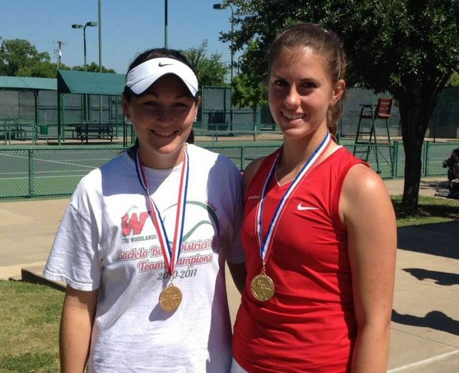 The Woodlands junior Alex Huie, left, and sophomore Catherine Wythe won the Region II-5A girls doubles championship Wednesday at the Waco Regional Tennis and Fitness Center.