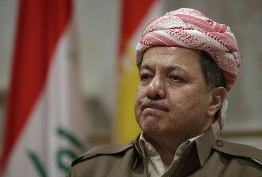 Kurdish president Massoud Barzani reacts during an interview with the Associated Press in Salah al-Din resort, Irbil, north of Baghdad, Iraq, Wednesday. Barzani told The Associated Press on Wednesday that one possible alternative is a political revolt. Photo: Khalid Mohammed