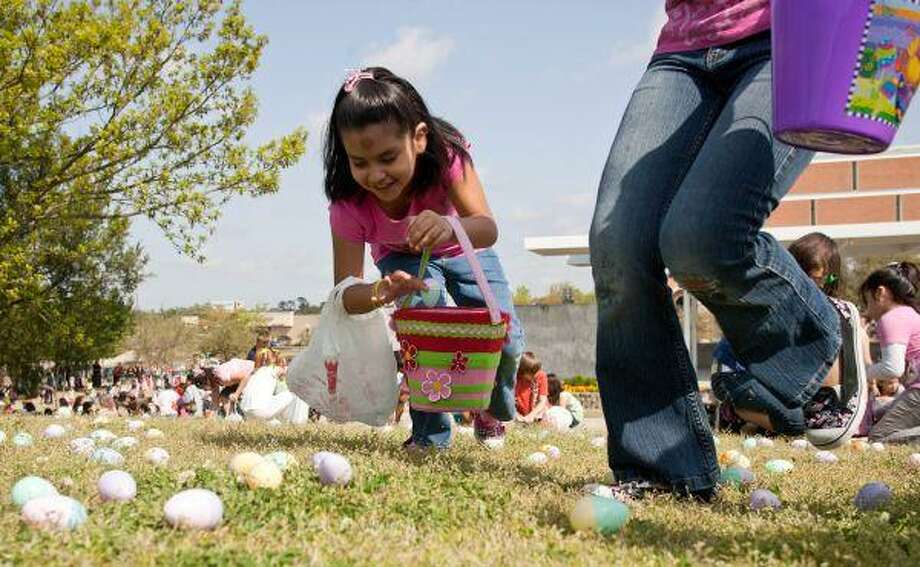 Jessica Nava, 7, of Conroe, collects Easter eggs at the Morning with Mr. Bunny Easter egg hunt event held at Heritage Park in downtown Conroe. More than 12,000 eggs decorated the park as children took part in the tradition. / The Courier