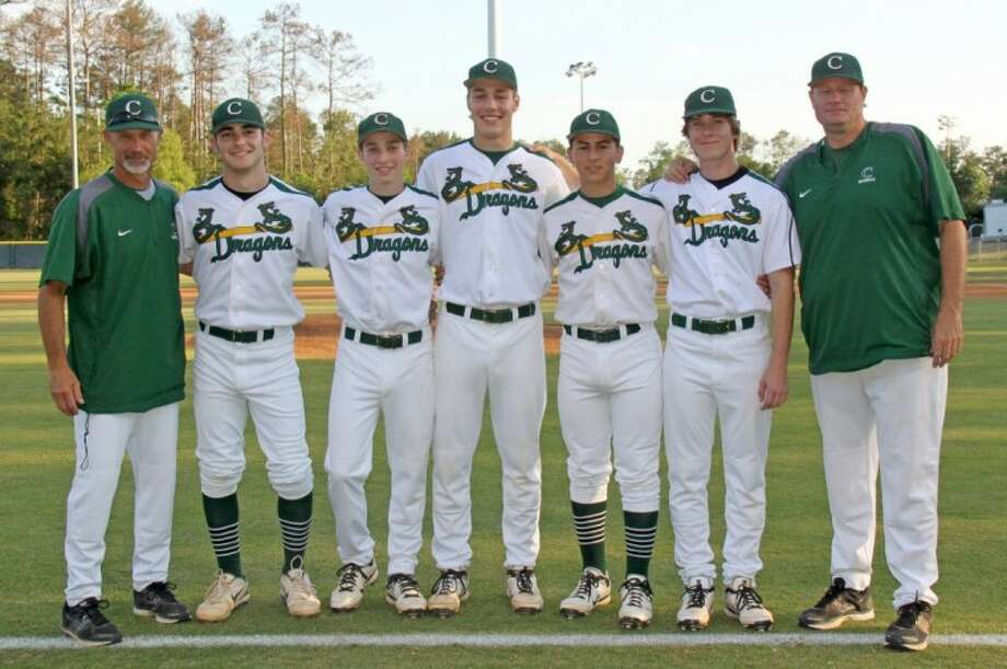 John Cooper honored its five seniors before its April 19 game against the Houston Power. Pictured from left to right are Dragons assistant coach Steve Hon, Vinny Aquino, Patrick Berrigan, Clark Connett, Alejandro Ramirez, Taylor Schmidt, and head coach Brent Landrum.