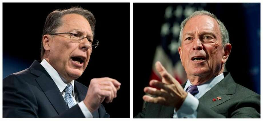 Two of the loudest voices in the gun debate, Wayne LaPierre, left, and New York City Mayor Michael Bloomberg, right say it's up to voters now to make their position known to Congress. Photo: Manuel Balce Ceneta,Ron Sachs