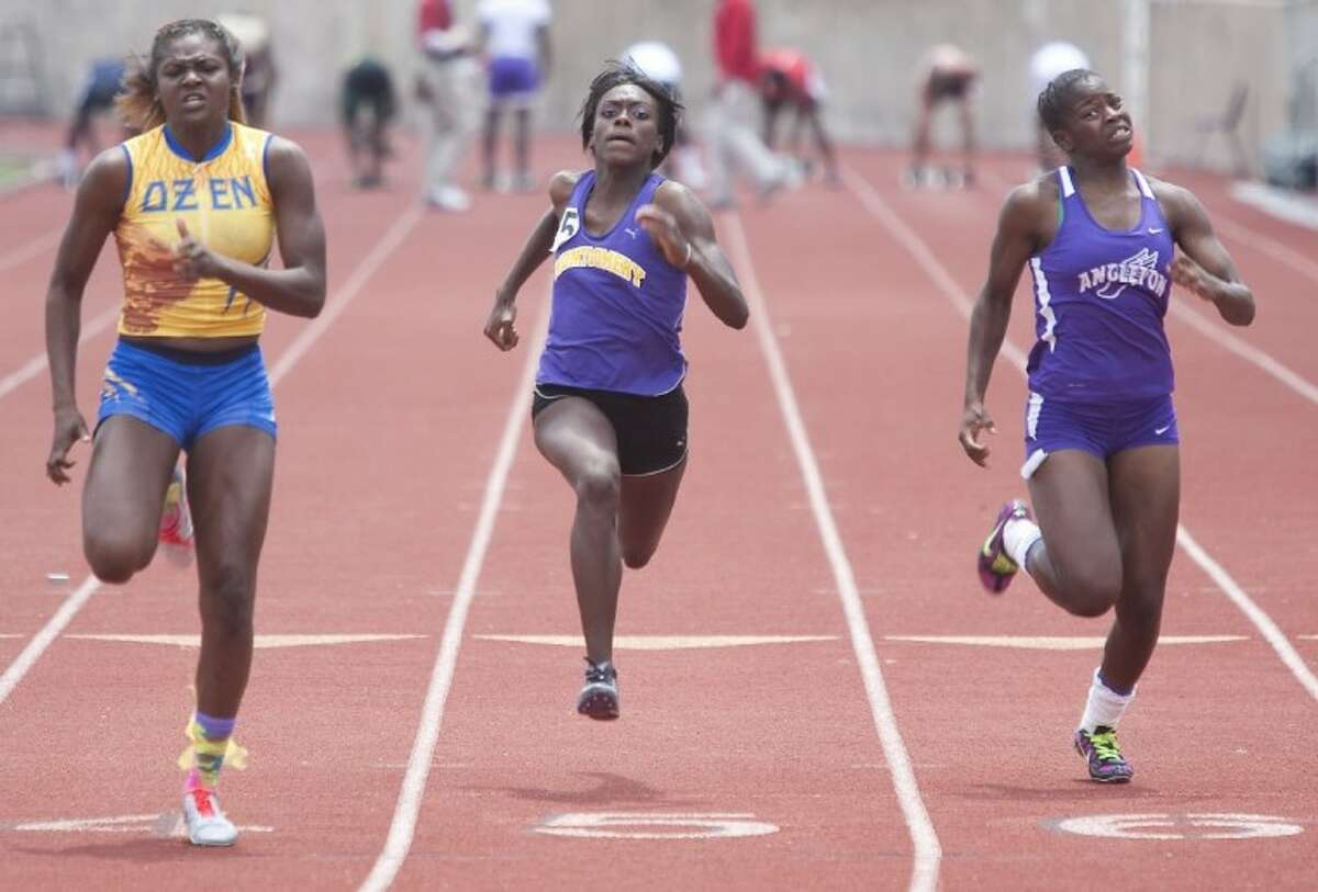 Montgomery's Jessica Hatchett competes in the 100-Meter Dash during the Region III-4A Track and Field Championships at Bowers Stadium in Huntsville.