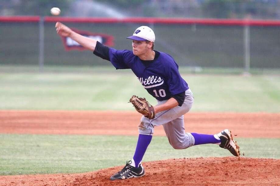 Willis' Cameron Johnson pitches against Brenham on Friday night at Langham Creek High School.