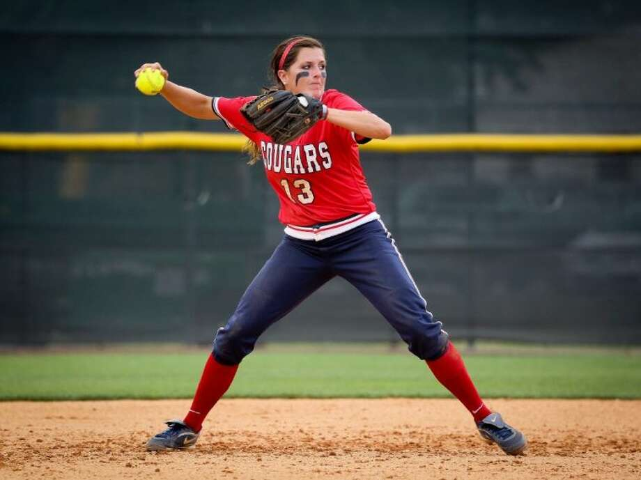 Conroe High School graduate and Houston shortstop Kendra Cullum has been hit by a national-high 36 pitches this season. Photo: Stephen Pinchback