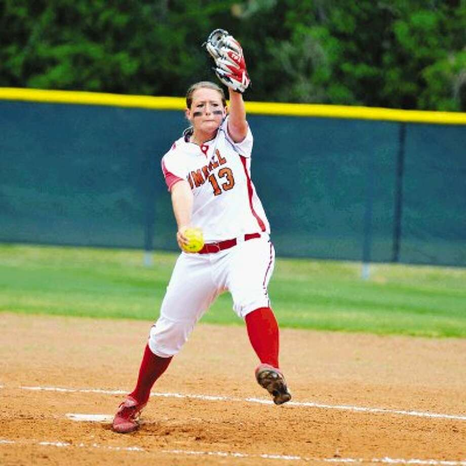 Tomball senior ace pitcher Kandace Patek, shown here getting some muscle behind a recent fastball, has been stellar for the Cougars this season, having won over 20 games while batting over .400 on the year. Tomball head coach Benita Dunlavy has also commended Patek defensively for the way she fields her position. The Cougars take on defending 5A state champion The Woodlands Friday night in a one-game playoff. / JT Hilton