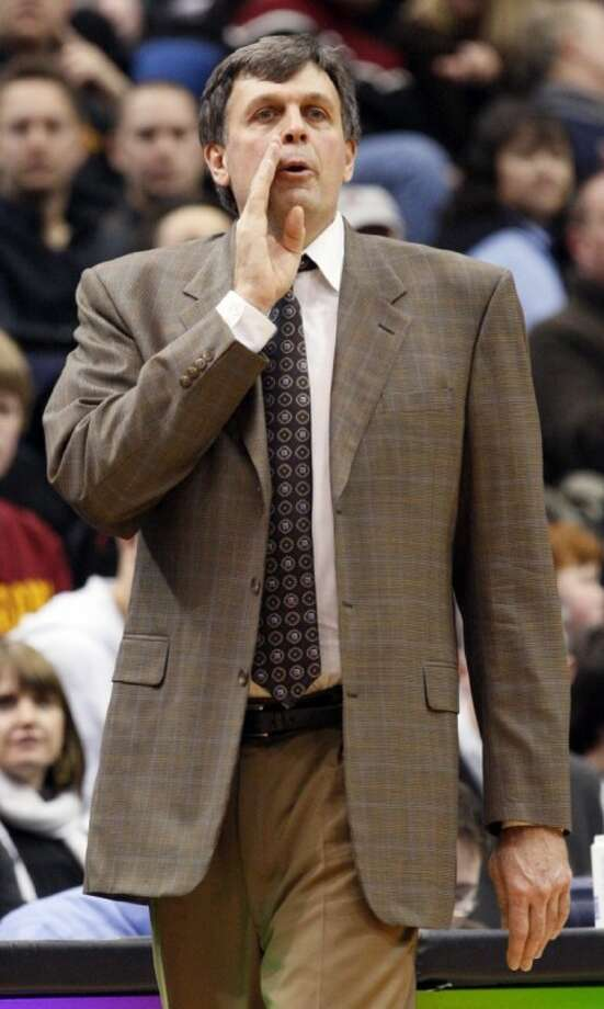 Then-Minnesota Timberwolves coach and new Houston Rockets coach Kevin McHale calls out to his players during the third quarter against the Golden State Warriors in Minneapolis on Jan. 2, 2009.