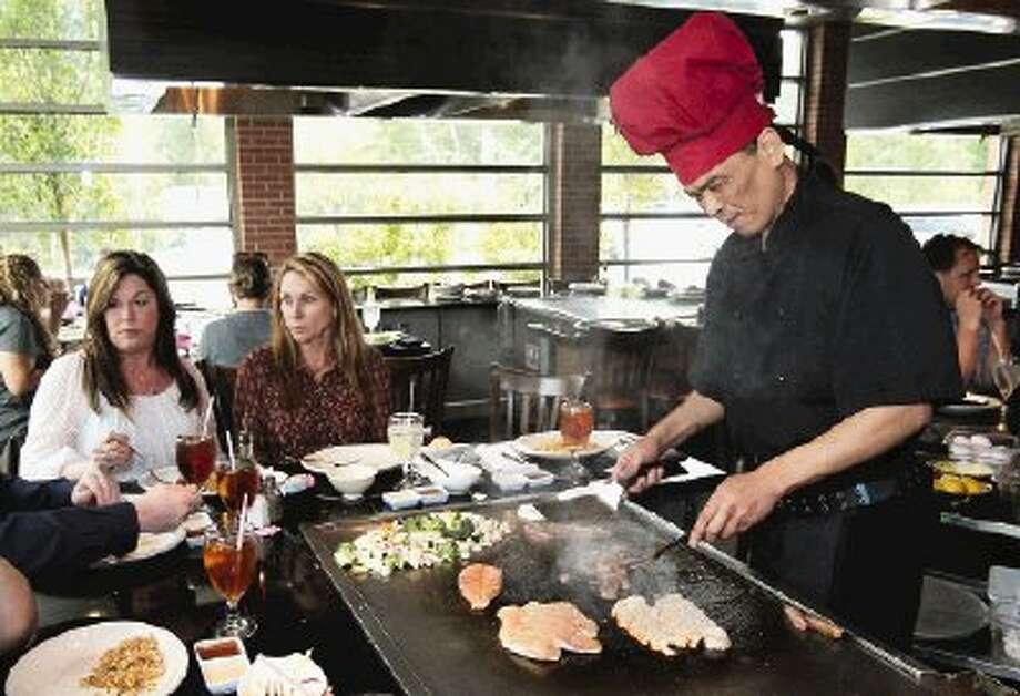 Sakekawa Japanese Steakhouse features tableside hibachi cooking.