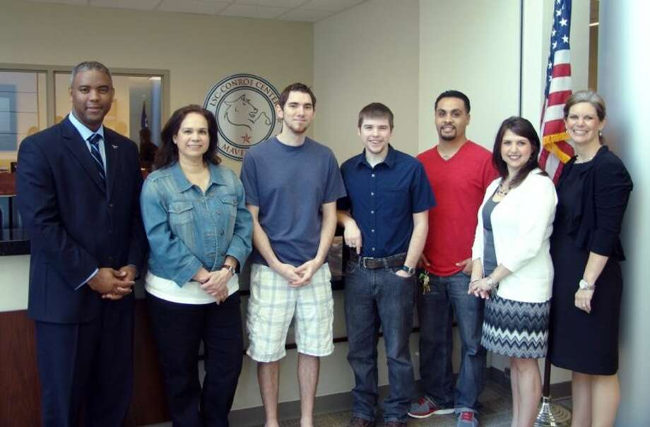 Pictured (left to right) are Dr. Austin Lane, Lone Star College-Montgomery president; students Brenda Perez, Jason Ely, Joshua Brimage, and Francisco Herrera; Jennifer Matthews, associate director of GCEDC; and Becky Duncan-Ramirez, director of LSC-Conroe Center. Not pictured is the fifth recipient, Joseph Watkins.