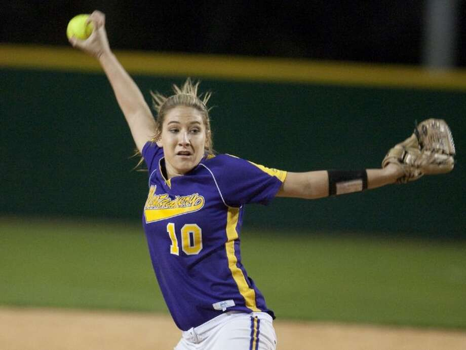 Montgomery grad and current Texas Lutheran freshman Katelyn Sanders went 5-0 with a 1.35 ERA and 20 strikeouts in 26 innings last week. Photo: Karl Anderson