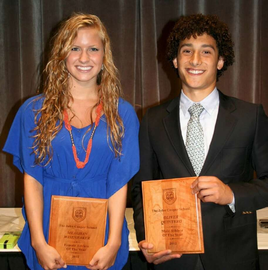 Seniors Meaghan Wisenbaker and Oliver Quintero were honored as The John Cooper School's Athletes of the Year at the school's All Sports Banquet on May 18.