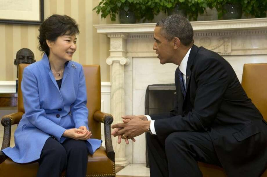 President Barack Obama and South Korean President Park Geun-Hye are shown during their meeting in the Oval Office of the White House in Washington Tuesday. Photo: Pablo Martinez Monsivais