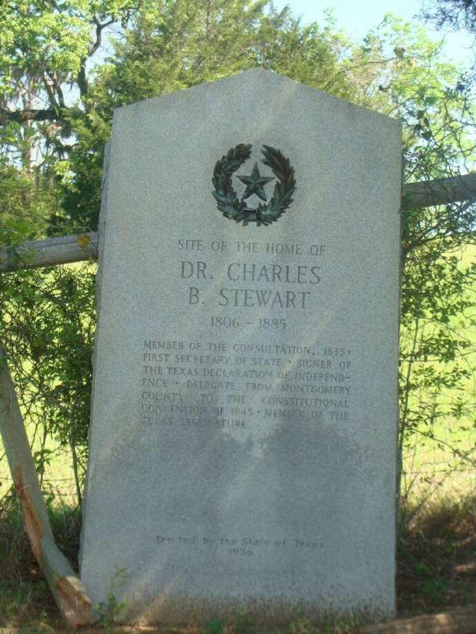 A historical marker on FM 2854 just south of Texas 105 marks the homesite of Dr. Charles B. Stewart, the first delegate to sign the Texas Declaration of Independence. Many historians have credited Charles B. Stewart with having designed the Lone Star Flag of Texas and Texas State Seal in Montgomery in 1839.