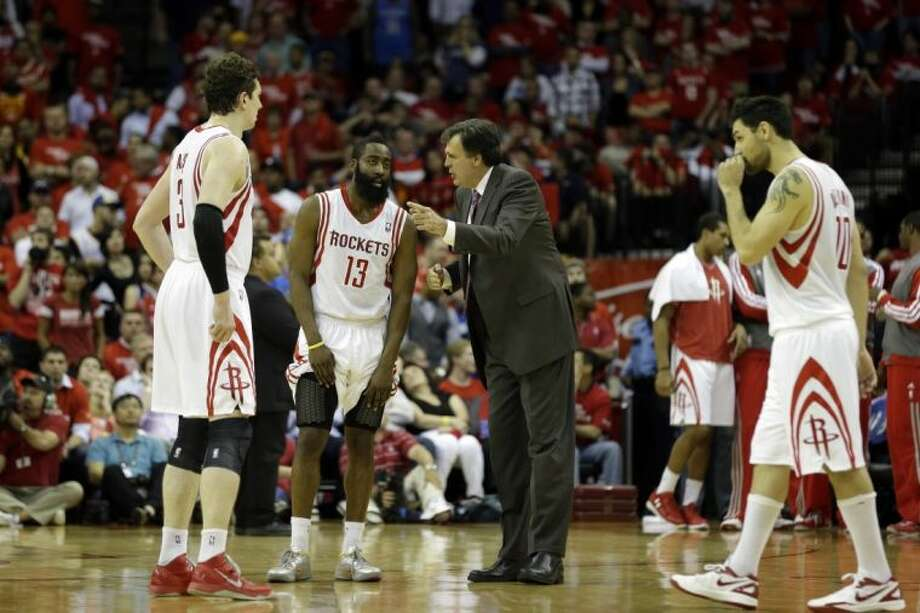Houston Rockets guard James Harden left Wednesday's shootaround with flu-like symptoms. Photo: David J. Phillip