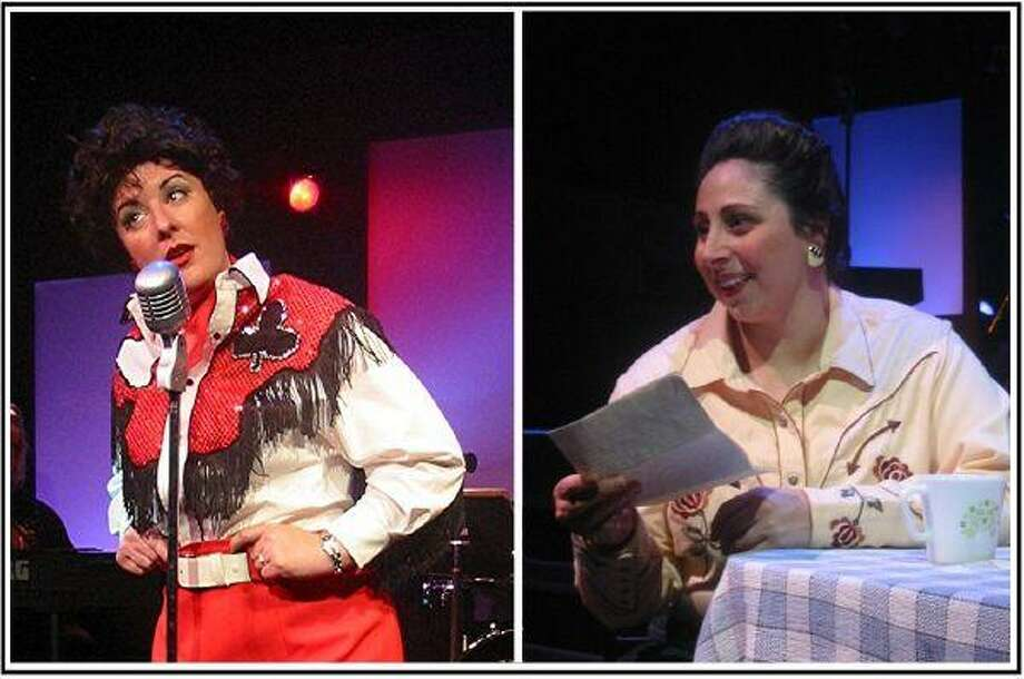 """Houston singer/actress Julia Laskowski portrays Patsy Cline with Lyndsay Sweeney playing her close friend Louise Seeger in """"Always…Patsy Cline"""" in four weekly performances through June 27 at Texas Repertory Theatre Co., 14243 Stuebner Airline Road, Houston 77069. Call (281) 583-7573 for information."""