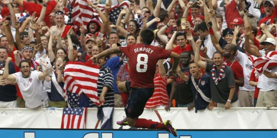 The United States' Clint Dempsey reacts after his goal during the second half of a CONCACAF Gold Cup quarterfinal match against Jamaica on Sunday at RFK Stadium in Washington, D.C. The United States won 2-0. Photo: Alex Brandon