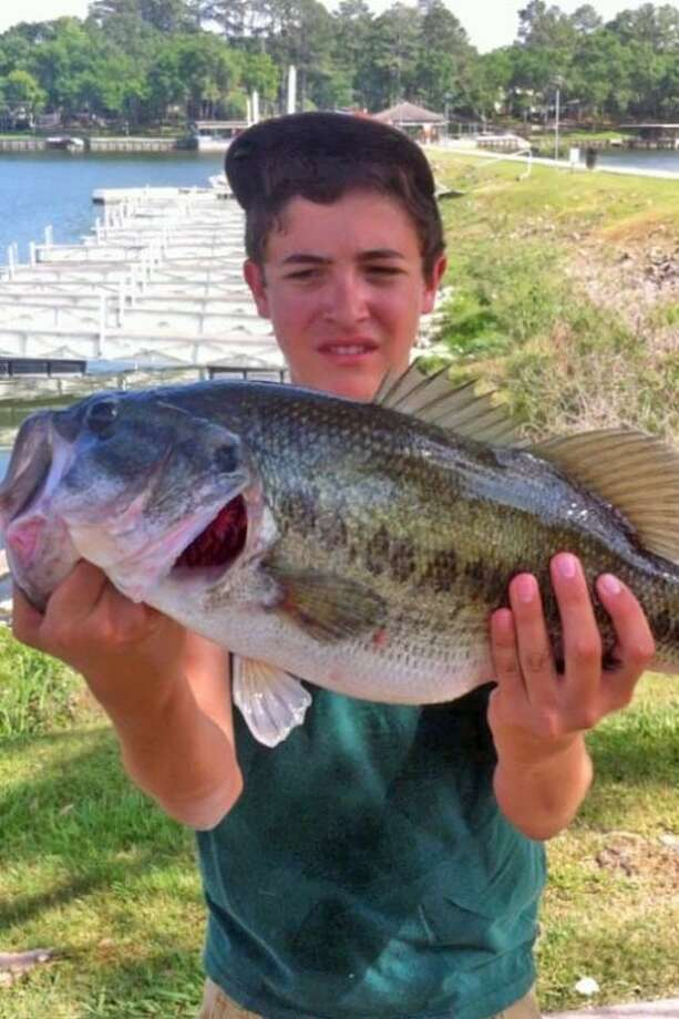 Jordan Scambray, an eighth-grader at Brabham Middle School in Willis, caught this 10.3-pound bass last Monday on a bed in about 3 feet of water using a soft plastic lizard.