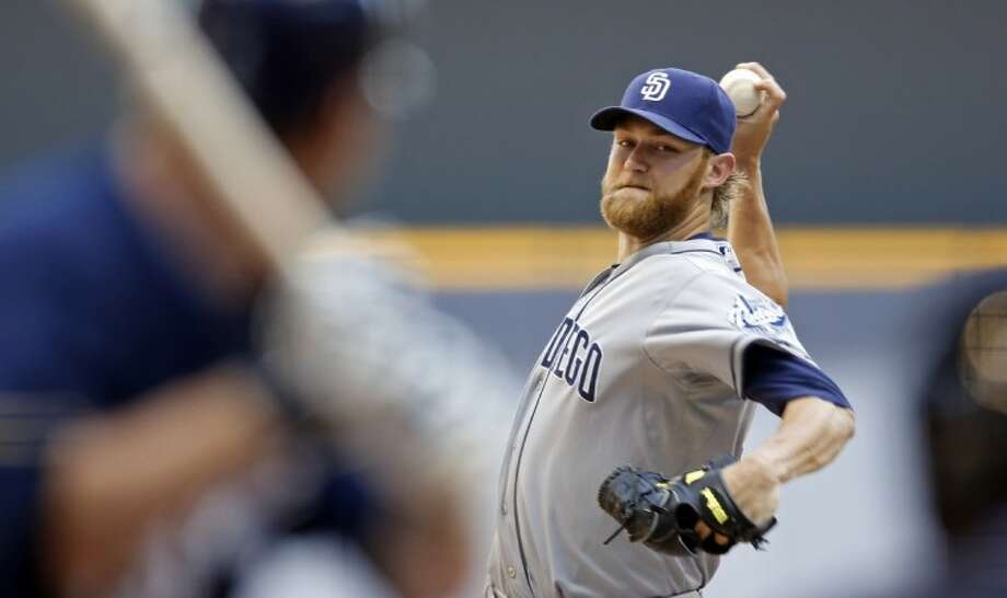 San Diego Padres' Andrew Cashner, a Conroe High graduate, pitches to Milwaukee Brewers' Corey Hart during the first inning Saturday in Milwaukee. Photo: Tom Lynn
