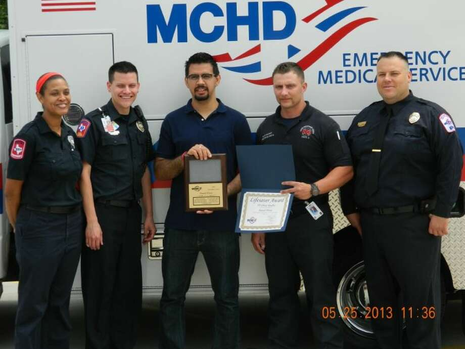 Save Reunion participants included (left to right) Chriss Jenkins, MCHD paramedic; Matt Diaz, MCHD paramedic; Daniel Flores, patient; Chase Bradley, SMCFD firefighter; Patrick Langan, MCHD supervisor. Not pictured are: Richard Jackson, MCHD dispatcher; Felix Castillo, MCHD calltaker; SMCFD Lt. Justin Copeland; Trey Baxter, SMCFD firefighter, and Scott Sanders, SMCFD firefighter.