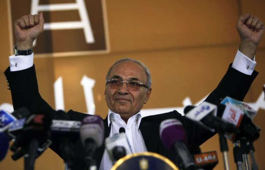 Egyptian presidential candidate Ahmed Shafiq addresses his supporters during an election rally in Cairo, Egypt, Thursday. Photo: Nasser Nasser