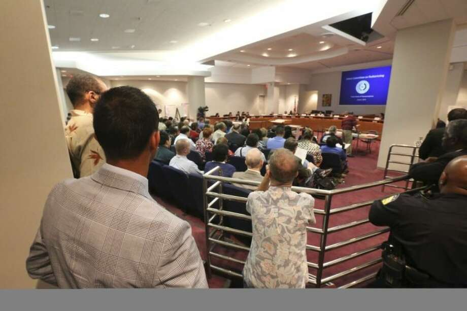It was standing room only as the House Redistricting Committee held a hearing to discuss legislative and congressional maps at DART headquarters in downtown Dallas Thursday. Photo: Ron Baselice