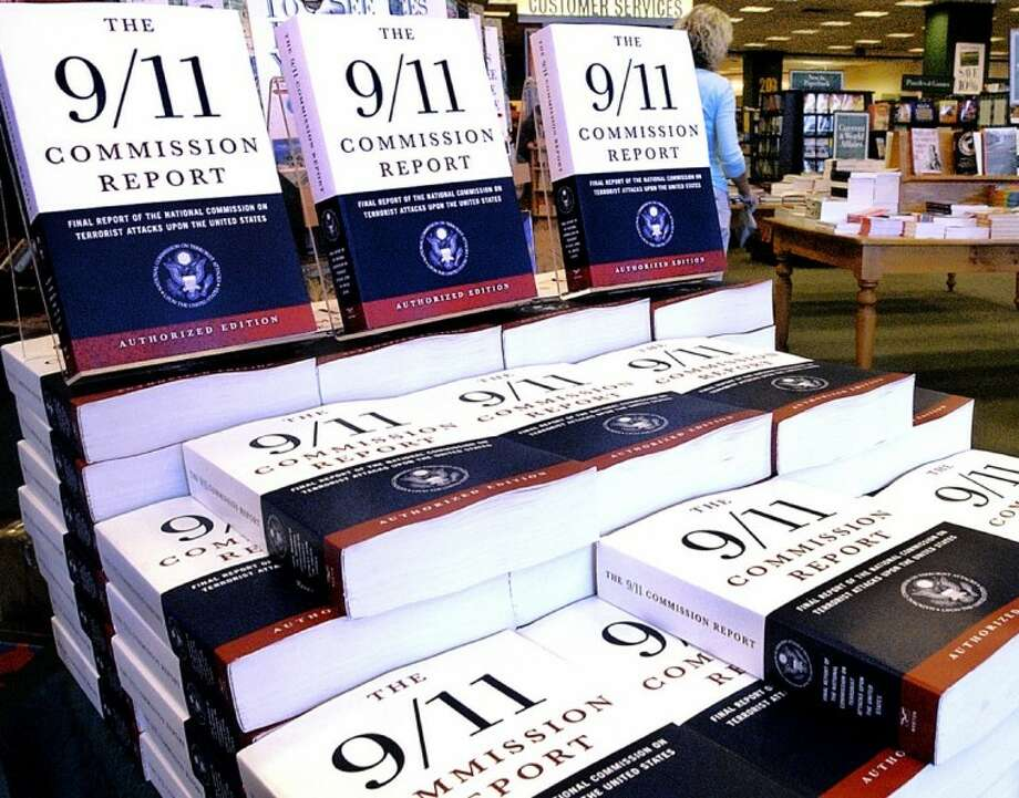 """This July 22, 2004 file photo shows a Barnes and Noble book store in Springfield, Ill., displaying """"The 9/11 Commission Report,"""" the final report of the National Commission on Terrorist Attack upon the United States. The CIA released hundreds of pages of declassified documents related to the Sept. 11, 2001 attacks that detail the agency's budgetary woes leading up to the attacks and its attempts to track al-Qaida leader Osama bin Laden. Many of the documents are cited in the 9/11 Commission report. Photo: SETH PERLMAN STF"""