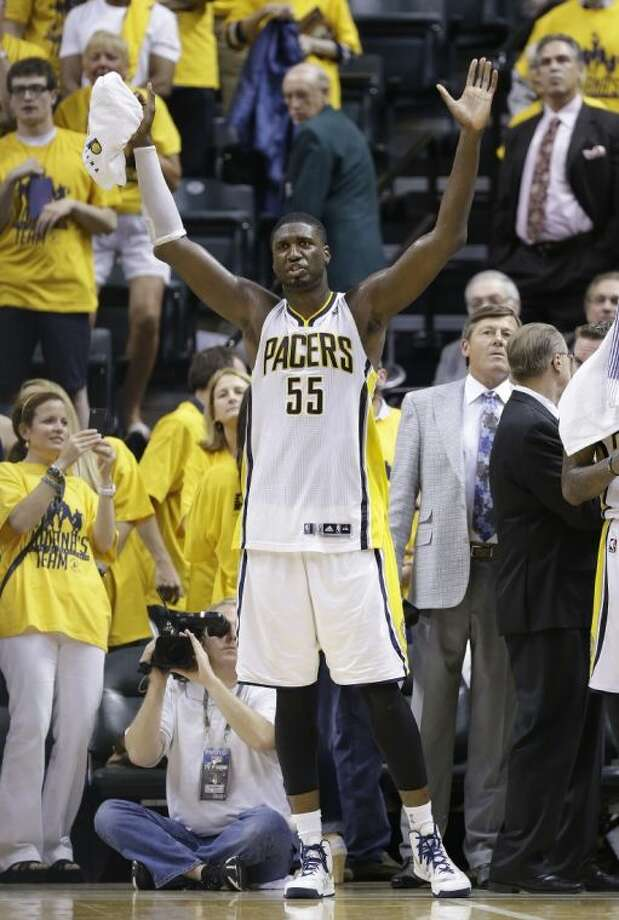 Indiana Pacers center Roy Hibbert was fined $75,000 for using a gay slur and inappropriate language in a press conference on Saturday night. The Pacers face the Heat tonight in Game 7 of the NBA Eastern Conference finals. Photo: Michael Conroy