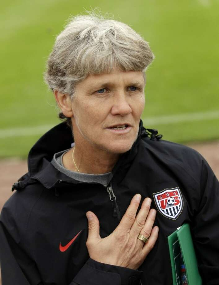 United States coach Pia Sundhage answers questions during a training session in preparation for a match against Sweden during the Women's World Cup in Wolfsburg, Germany, on Monday.