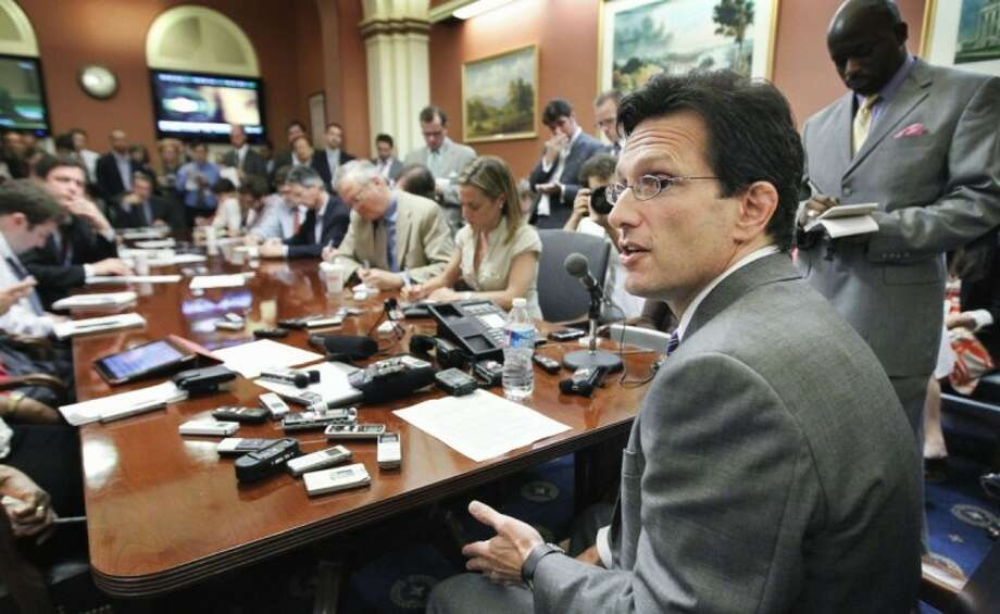 House Majority Leader Eric Cantor of Virginia speaks to reporters during a pen and pad on Capitol Hill in Washington Wednesday.
