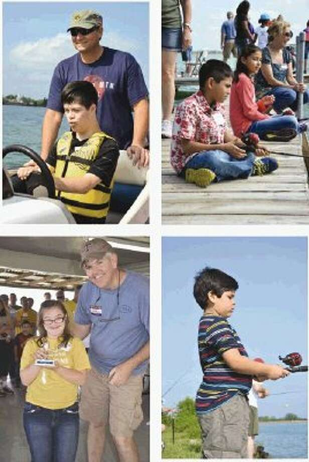 It was a beautiful day for the Conroe Noon Lions Club at the annual Kids on the Lake fishing tournament for special-needs children. Families enjoyed boat rides, fishing, lunch, prizes and awards at Lewis Creek Reservoir. Collage pictures includes, clockwise from top left: Cameron, Lions Bobby Adams, Victor and Thamara, Diego, Leslie and Lion George Waggoner.