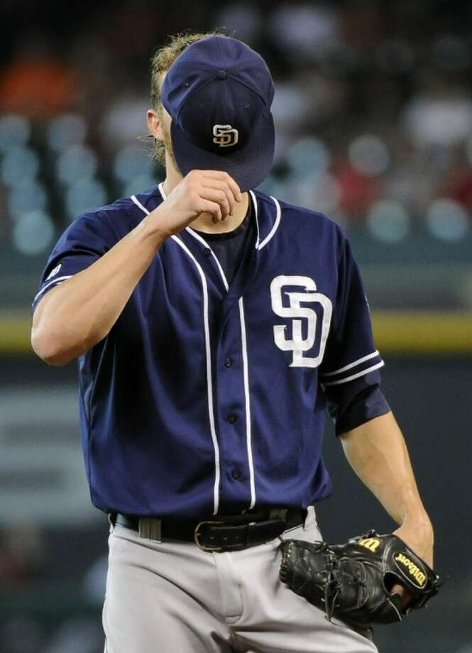 San Diego Padres pitcher Andrew Cashner, a Conroe High School graduate, pauses before throwing the first pitch of the bottom of the second inning against the Houston Astros on Thursday in Houston. Photo: Pat Sullivan