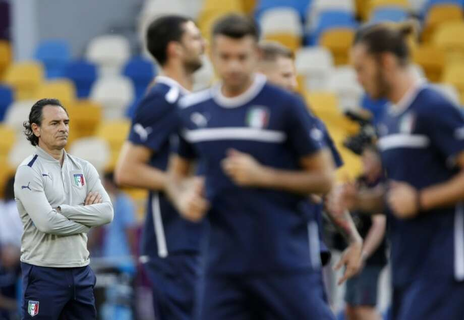 Italy coach Cesare Prandelli leads a training session Saturday ahead of Sunday's European championship final against Spain in Kiev, Ukraine. Photo: Darko Vojinovic