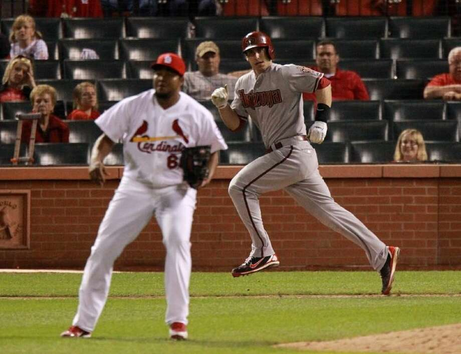 Arizona Diamondbacks first baseman Paul Goldschmidt drove in the game-winning run off of St. Louis Cardinals pitcher Victor Marte in the 14th inning on Tuesday at Busch Stadium in St. Louis. Photo: Chris Lee