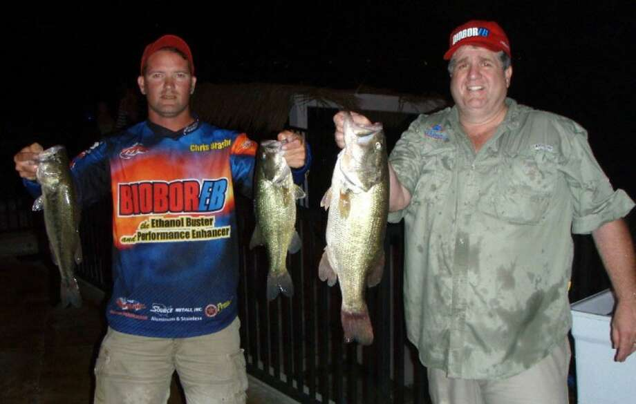 Chris Brasher and Rick Pritcher won the Conroebass.com Tuesday Night Tournament on July 5 with three fish weighing 11.68 pounds.