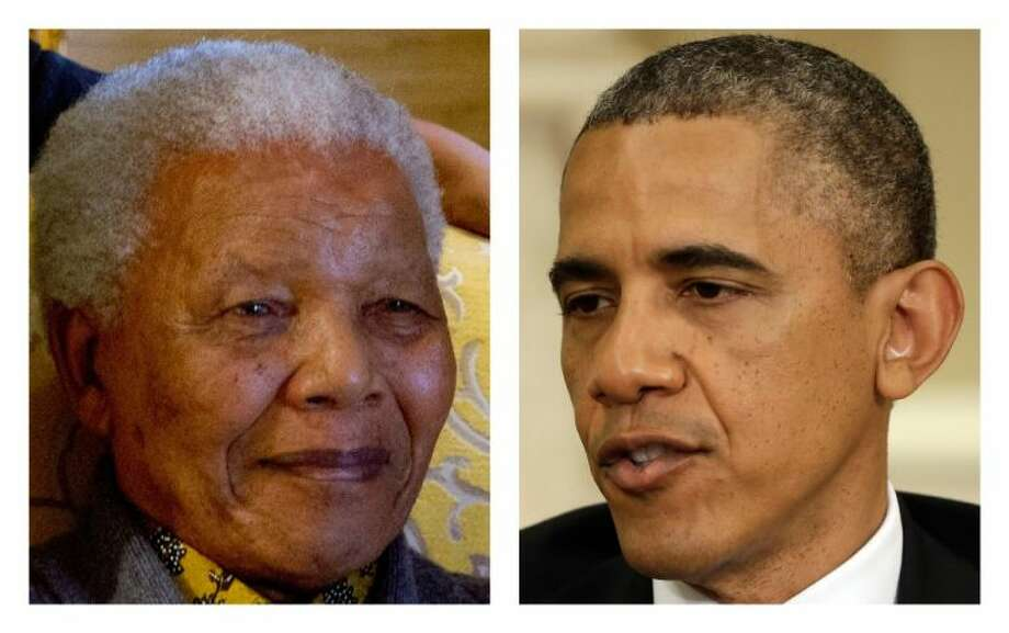 This two-picture combination of file photos shows Nelson Mandela on Aug. 8, 2012, left, and President Barack Obama on May 31. It was as a college student that President Barack Obama began to find his political voice. Inspired by Nelson Mandela's struggle against South Africa's apartheid government, the young Obama joined campus protests against the white racist rule that kept Mandela locked away in prison for nearly three decades. Photo: Uncredited