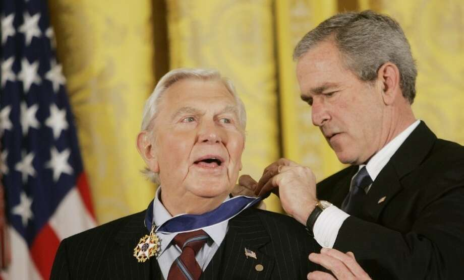 This Nov. 9, 2005 file photo shows President Bush presenting the Presidential Medal of Freedom to actor Andy Griffith in the East Room of the White House. Photo: EVAN VUCCI