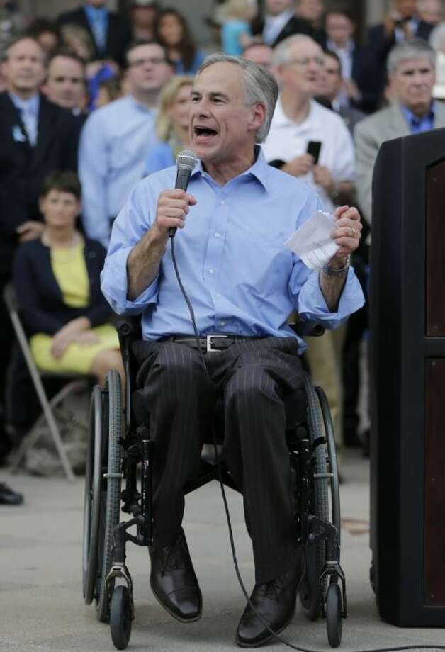 In this July 8 photo, Texas Attorney General Greg Abbott speaks at an anti-abortion rally in Austin. Photo: Eric Gay