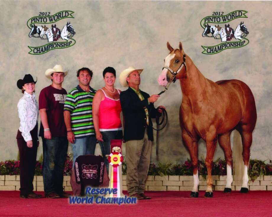 Kenny Hall is shown with Only At Knight. The pair won the Reserve World Champion Pinto Horse Association's 3- and 4-year-old gelding title in Tulsa, Okla., June 21.