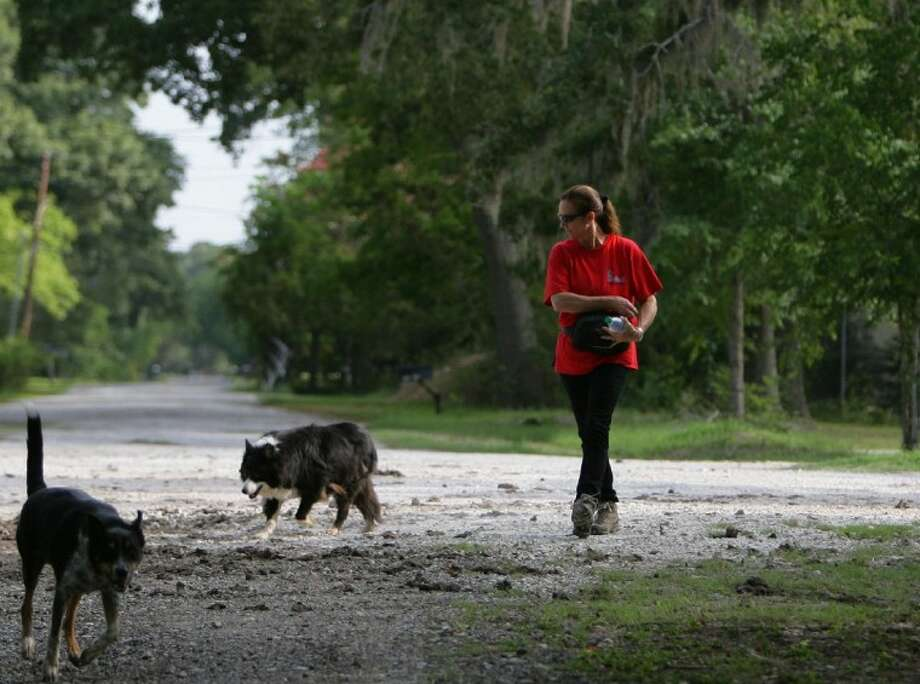 Susan Martinez, with the Greater Houston Search Dogs organization, walks down a trail with her search dogs. The organization searched Saturday for Alexandria Lowitzer, who disappeared April 26, 2010, after exiting a school bus near her home on Low Ridge Row in Spring. Photo: Eric S. Swist